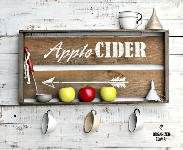 A crate repurposed as an Apple Cider display sign.