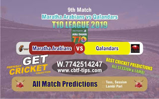 Who will win Today T10 2019, 9th Match Qalandar vs Maratha, 100% Sure Prediction