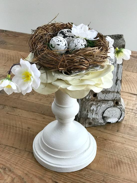 Easter Candlestick Bird's Nest DIY Decor