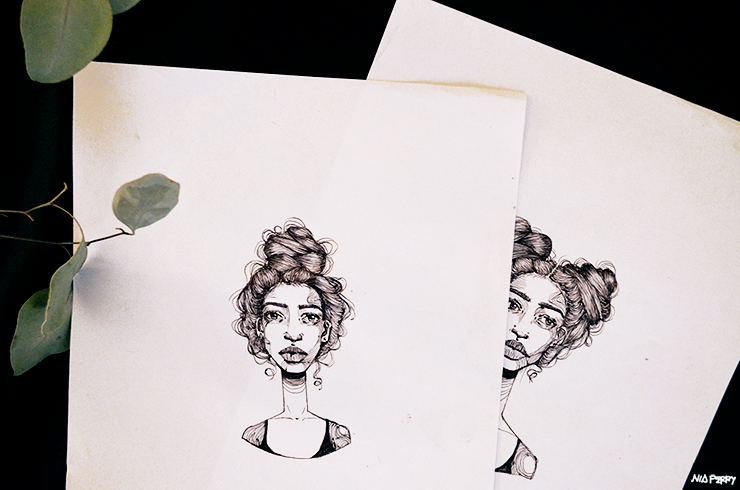 black girl top knot illustrations by Nia Perry