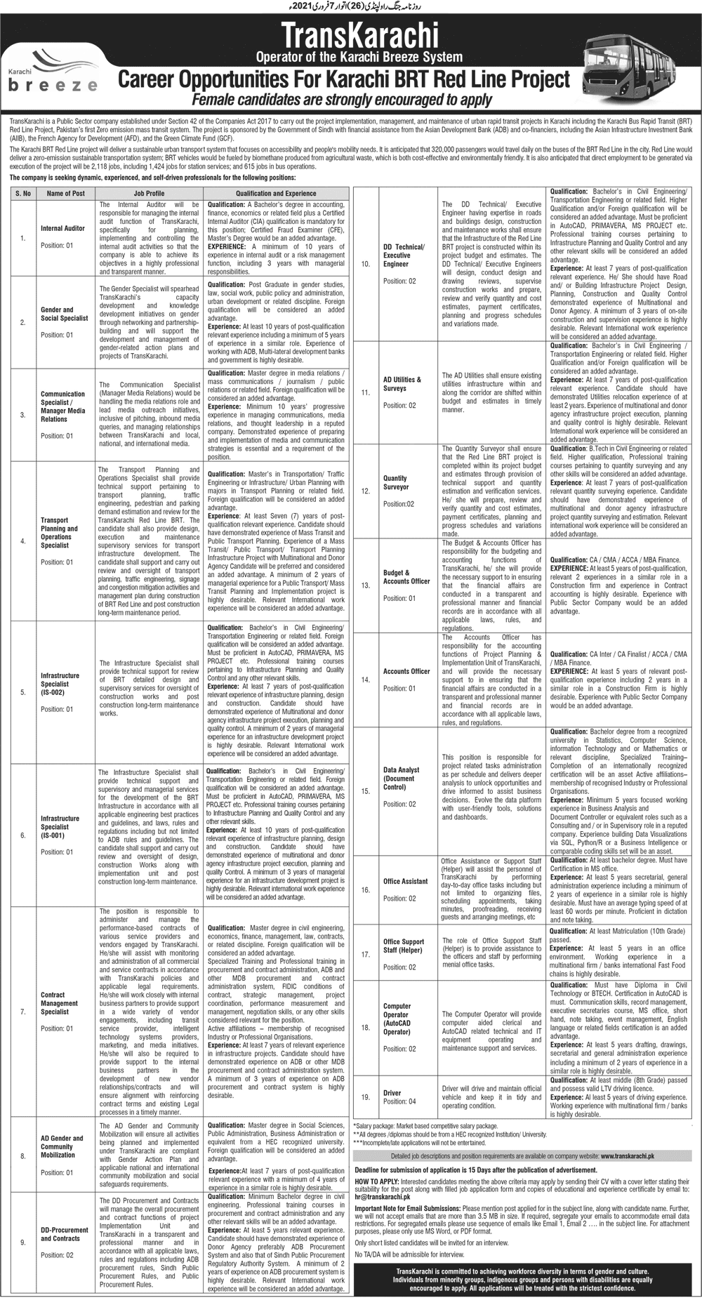 Download Bus Rapid Transit BRT Jobs 2021Application Form - www.transkarachi.pk - Rapid Transit - BRT Karachi - Bus Rapid Transit Jobs 2021 - BRT Jobs 2021