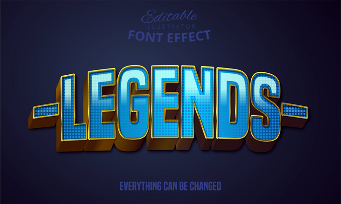 Legends Text Editable Font Effect Blue And Gold Bold Text On Dark Blue Background