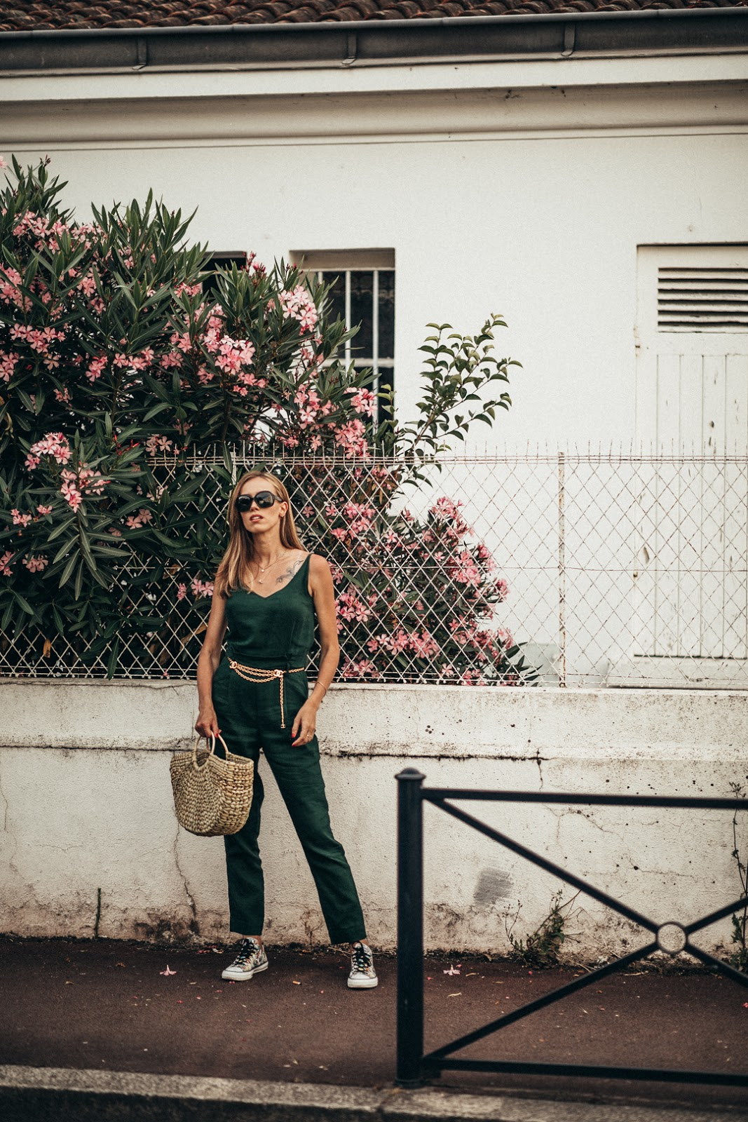 green jumpsuit summer outfit