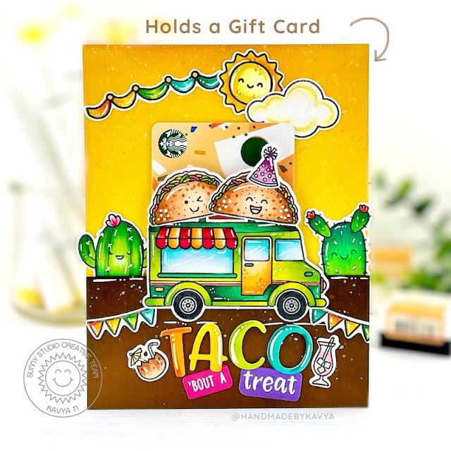 Sunny Studio Stamps: Gift Card Pocket Dies Cruisin Cuisine Fast Food Fun Card by Kavya