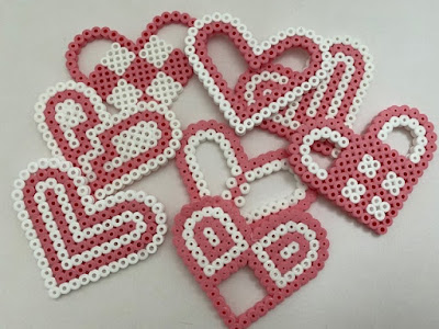 Hama bead heart completed designs