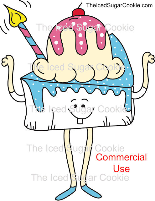 Birthday Cake Cartoon Illustrations for sale for business commercial use by the iced sugar cookie Bakery sweets dessert ice cream cute unique hand drawn original logo add to my products to sell
