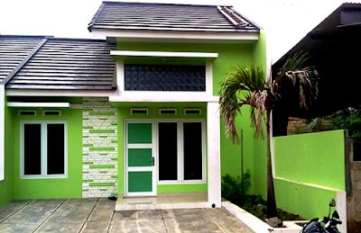 Perpaduan Warna Cat Hijau Tampilan Depan Rumah Minimalis Yang Menarik