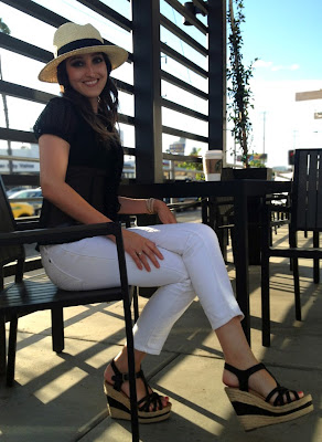 White Jeans Black Sheer Top