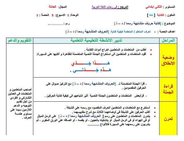 جذاذات الكتابة الاسبوع 3 من الوحدة1 للمستوى الثاني ابتدائي في رحاب اللغة العربية