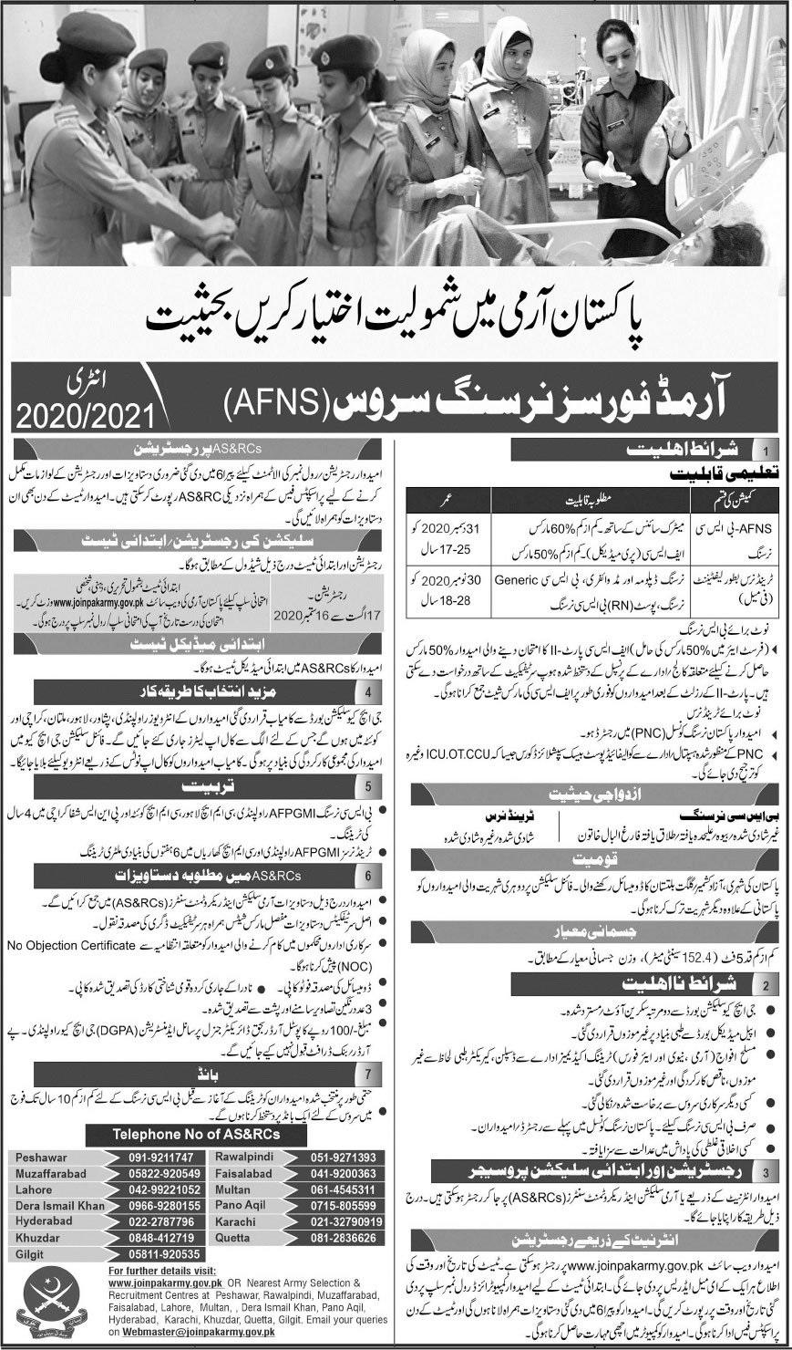Join Pakistan Army As a Armed Forces Nursing Service (AFNS) Entry 2020-2021
