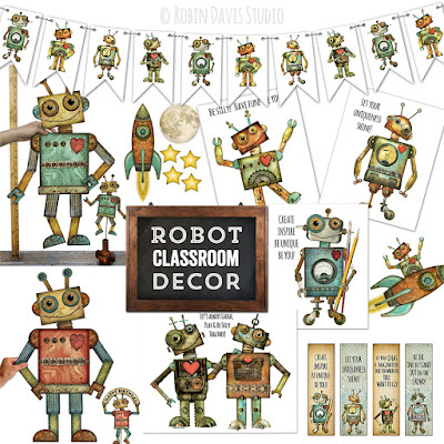 Robots in the classroom - DIY robot decor - Robin Davis Studio