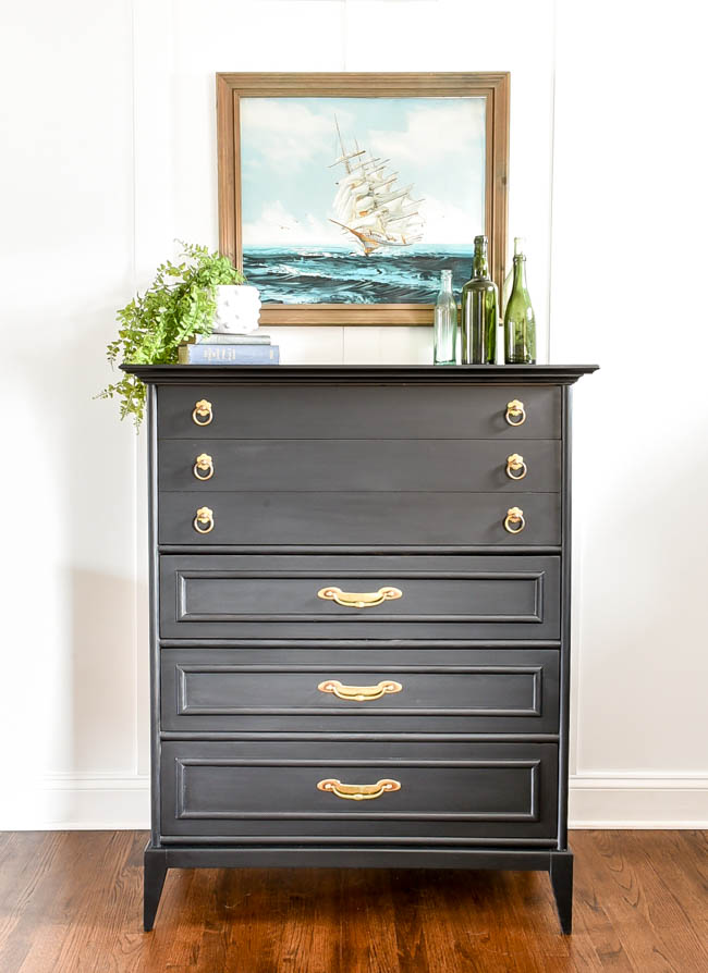 Black painted mcm dresser with gold hardware