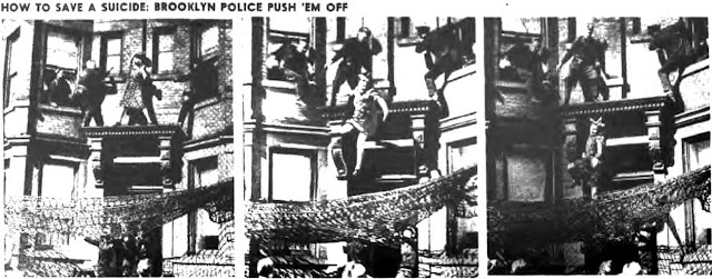 After attempting to get Mrs. Egbert to return to her house, she jumped. This picture is a screenshot from New York Post (March 20, 1942).