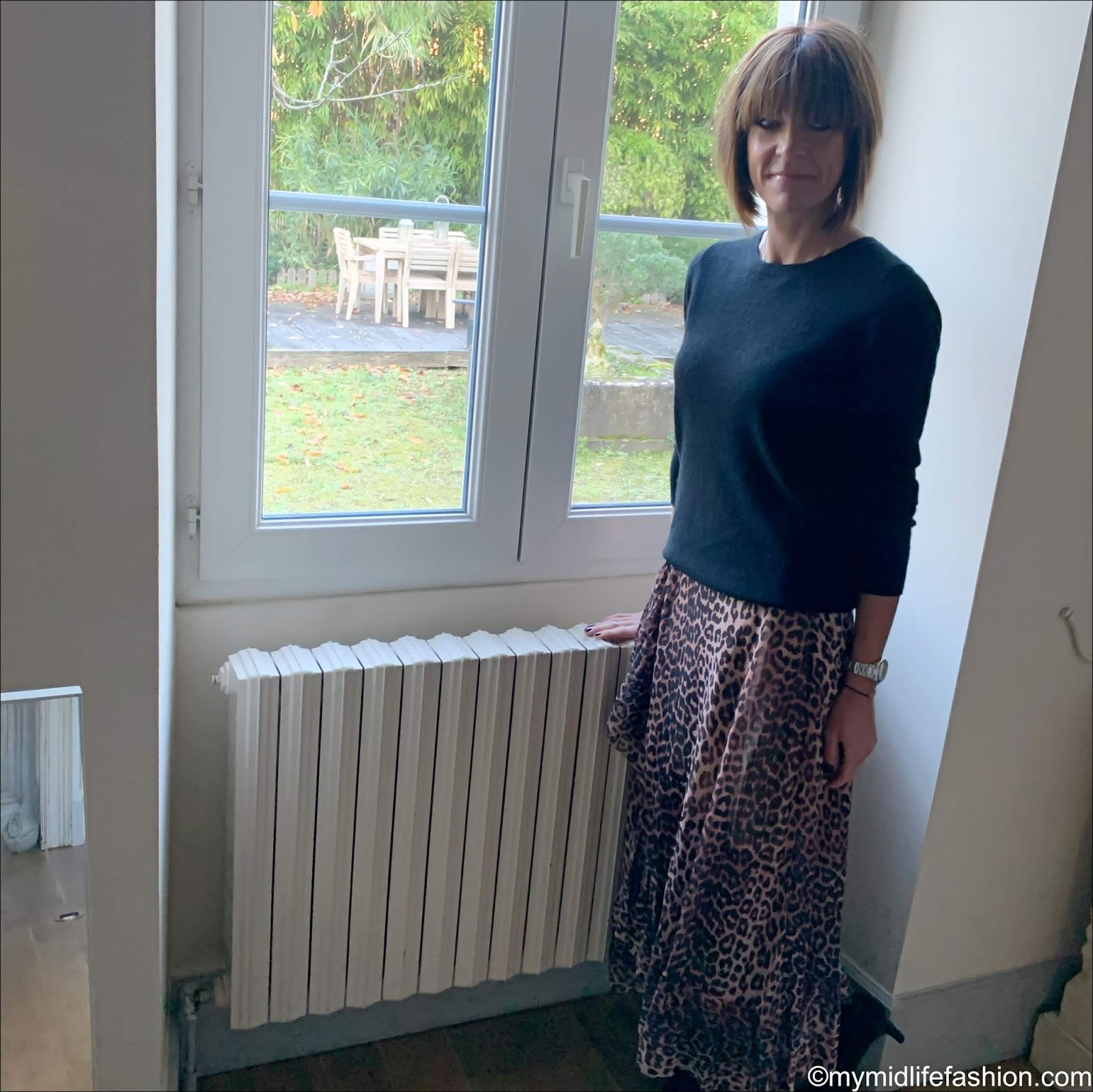 my midlife fashion, Marks And Spencer pure cashmere crew neck jumper, ganni leopard print wrap skirt, Isabel Marant suede ankle boot