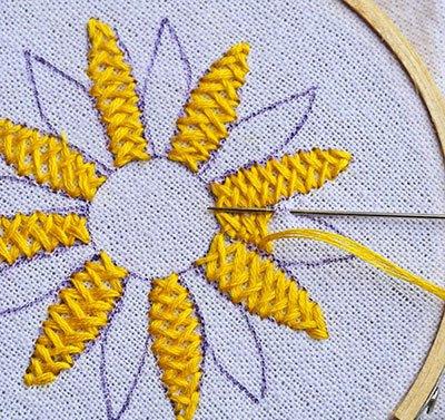 Hướng dẫn thêu hoa hướng dương - Hình 6