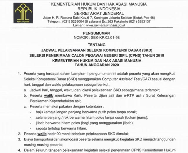 Pengumuman Jadwal dan Lokasi SKD Kemenkumham 2019