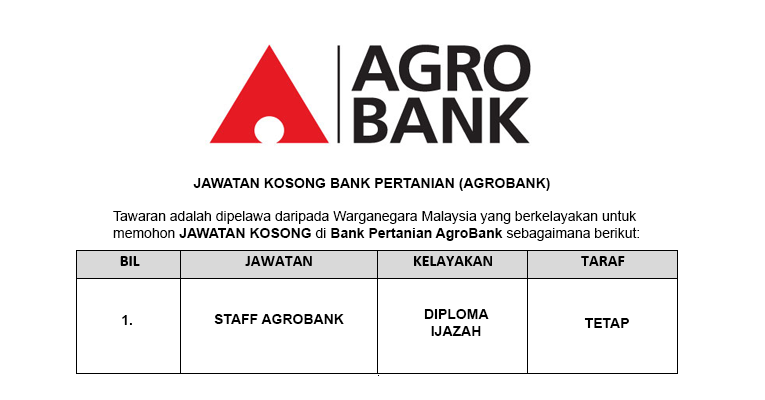 Bank Pertanian Malaysia Berhad AgroBank [ Jawatan Kosong Terkini ]
