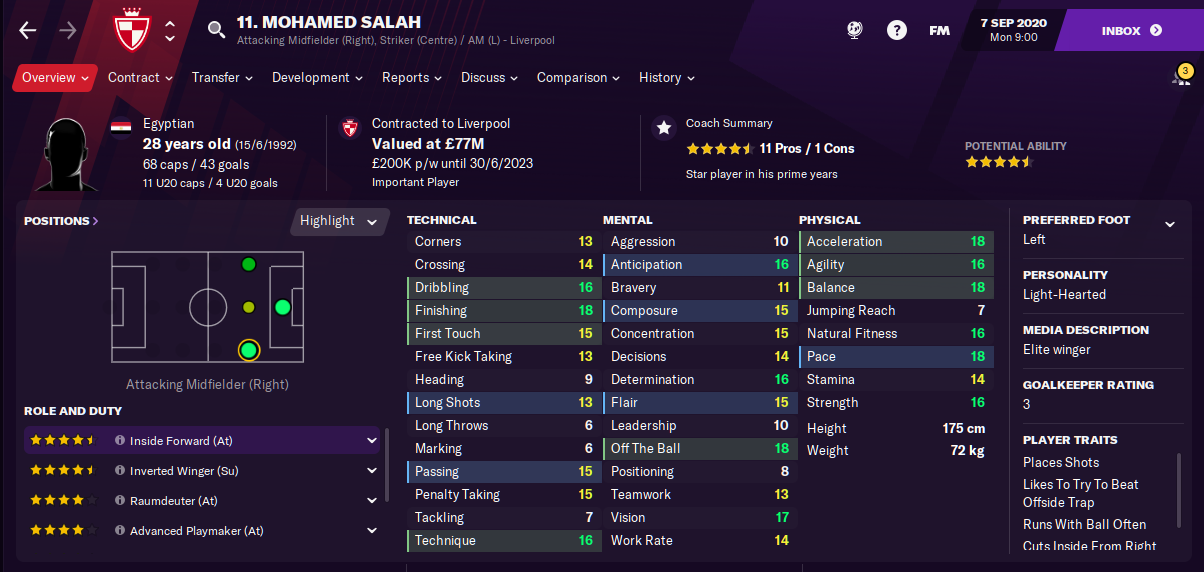 FM21 Liverpool Team Guide - Tactic - Mohammad Salah