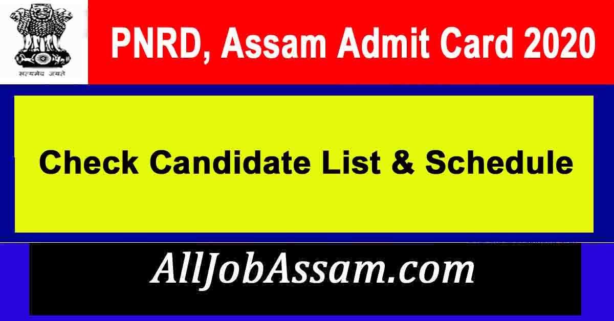 PNRD, Assam Admit Card 2020