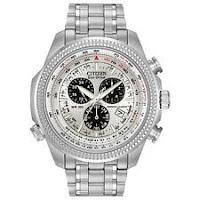 Citizen Eco-Drive Men's Chronograph Alarm Silver-Tone 48mm Watch BL5400-52A