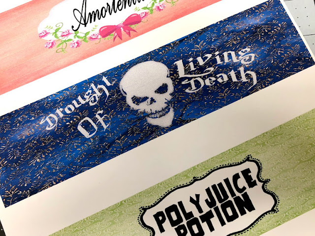 """Felix Felicis"", ""Poly Juice Potion"", ""Amortentia"", and ""Drought of Living Death."" printable drink labels"