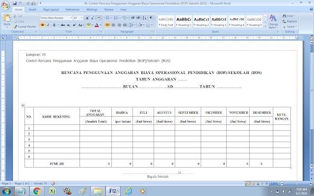 Contoh Format Rencana Penggunaan Anggaran Biaya Operasional Pendidikan (BOP)/Sekolah (BOS)