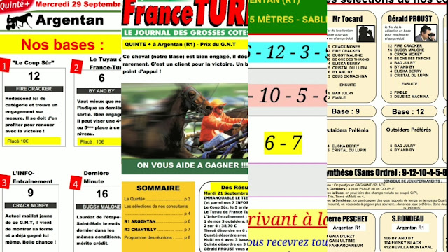 Pronostic quinté+ pmu Mercredi Paris-Turf TV-100 % 29/09/2021