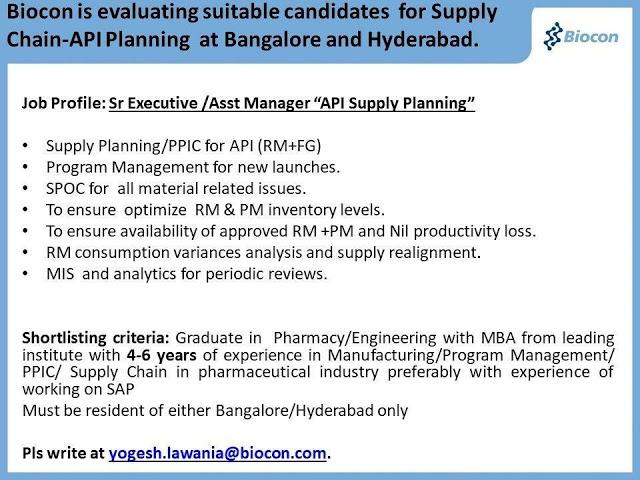 Biocon | Recruitment for Pharmacy / Engineering Graduates with MBA @ Hyderabad & Vizag