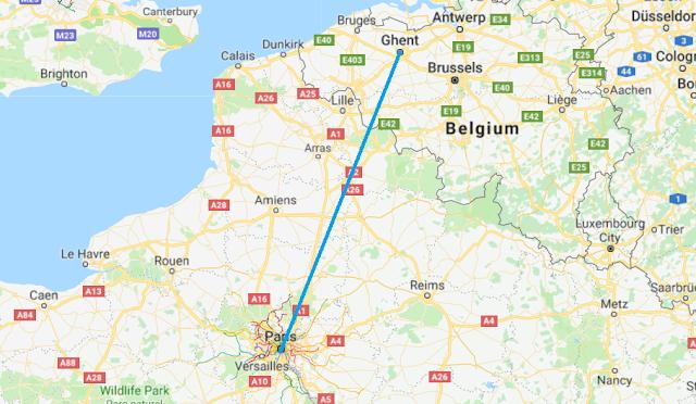 Mapa viagem de trem de Paris a Ghent
