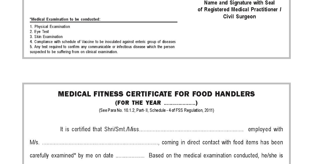 What Is A Health Certificate For Food