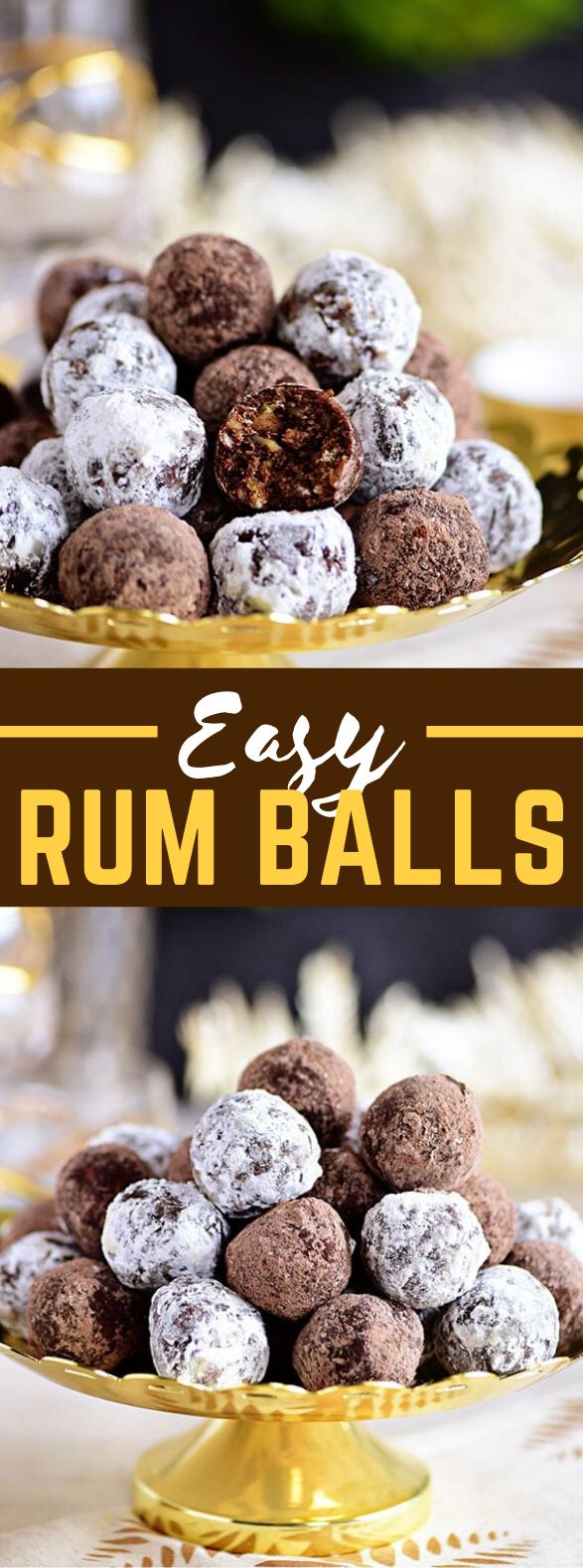 EASY HOLIDAY RUM BALLS RECIPE #desserts #chocolate