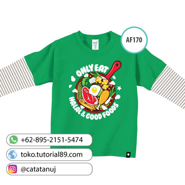 Kaos anak muslim Afrakids - AF170 – Only Eat Halal & Good Foods