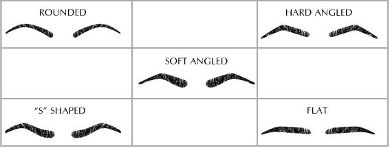 Different types of eyebrow shapes