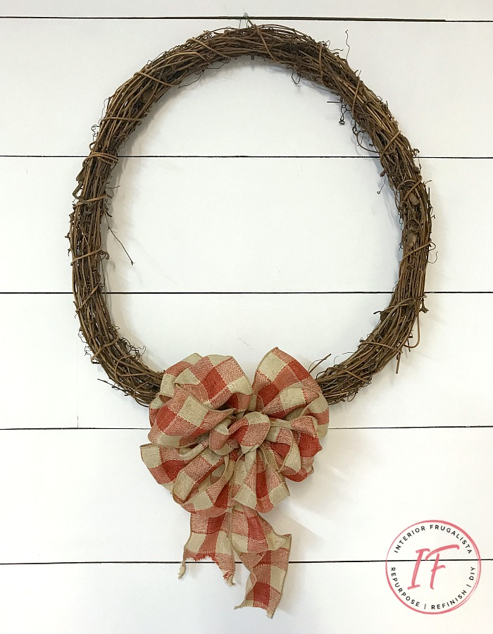 DIY Orange Sunflower Fall Wreath With Plaid Bow