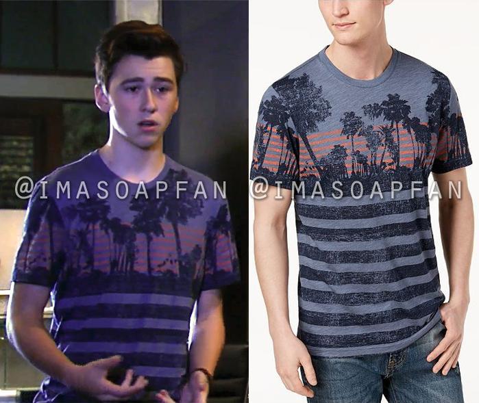 Oscar Nero, Garren Stitt, Palm Tree Striped Graphic T-Shirt, General Hospital, GH