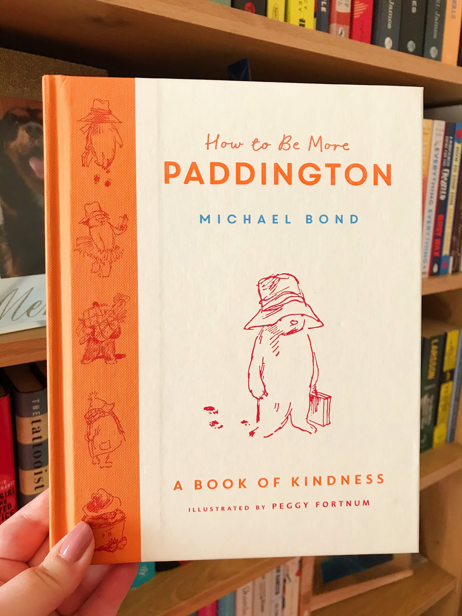 How To Be More Paddington by Michael Bond held up in front of bookshelf