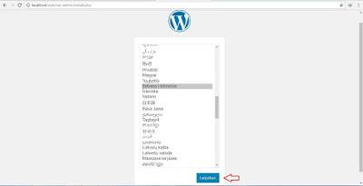 Memilih bahasa saat install wordpress
