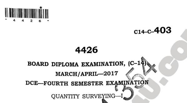 Diploma Quantity Surveying-1 Previous Question Paper c14 March/April 2017