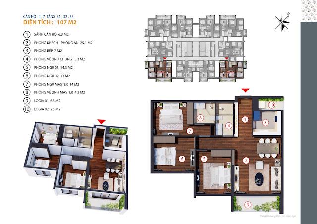 thiết kế chung cư gold tower căn 4,7