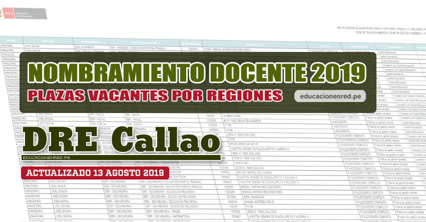 DRE Callao: Plazas Vacantes para Nombramiento Docente 2019 (.PDF ACTUALIZADO MARTES 13 AGOSTO) www.drec.gob.pe