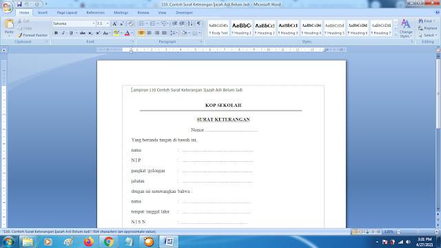 Contoh Format Terbaru Surat Keterangan Ijazah Asli Belum Jadi dari Sekolah