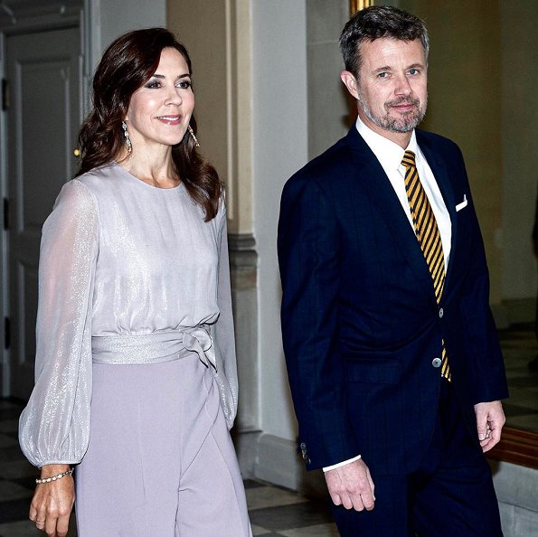 Crown Princess Mary wore Max Mara Leonida jumpsuit, Gianvito Rossi classic blush suede pumps, and carried Bottega Veneta knot clutch