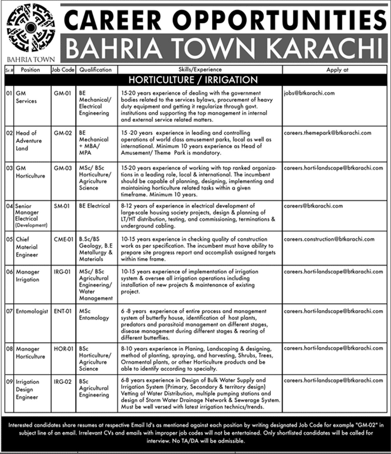 Jobs in Bahria Town Private Limited, Karachi - Jobs in Pakistan