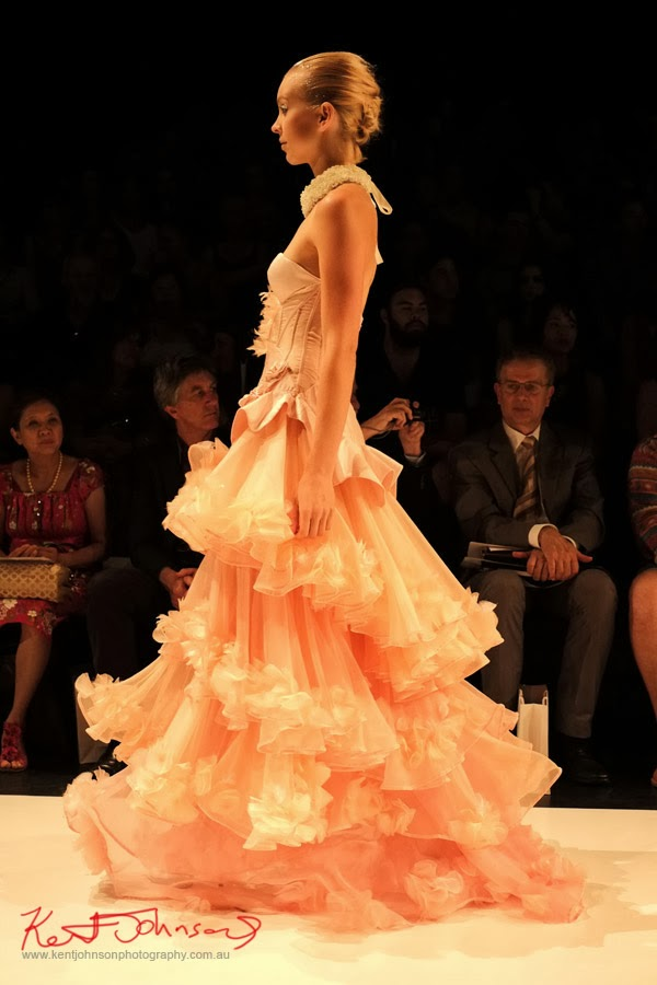 William Utama, Peach ruffled evening gown -  New Byzantium : Raffles Graduate Fashion Parade 2013 - Photography by Kent Johnson.