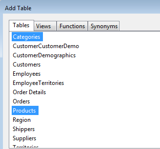 Query Builder Add Table