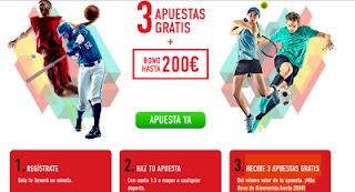 sportium 3 apuestas gratis + bono bienvenida 200 euros codigo JRVM hasta 2 julio