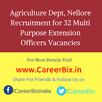 Agriculture Dept, Nellore Recruitment for 32 Multi Purpose Extension Officers Vacancies
