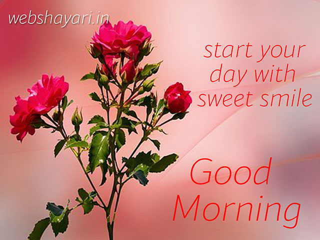 smile good morning wish with flower and quote