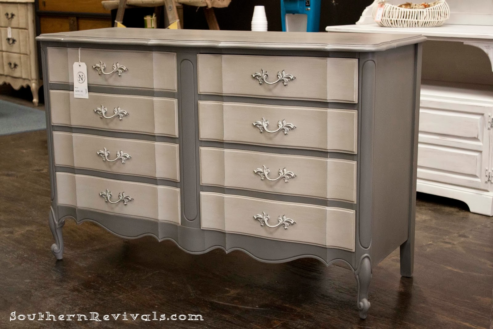Southern Revivals French Provincial Chalk Painted Gray Dresser Redo