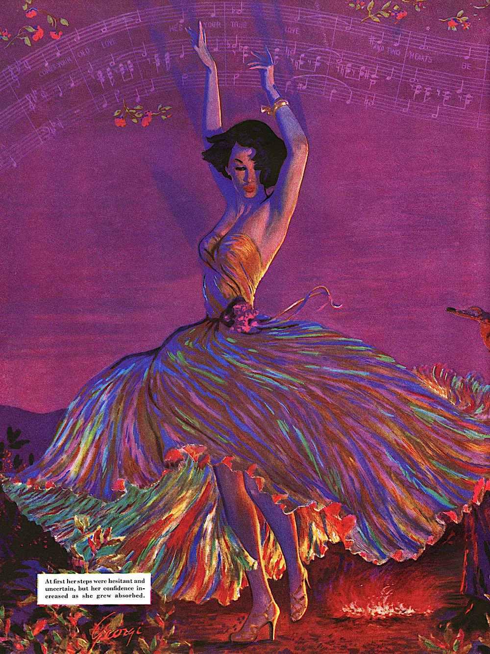 an Edwin Georgi illustration of a woman dancing with abandon around a fire